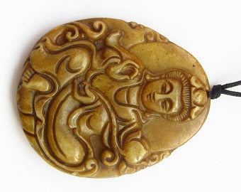 Female God Kwan-Yin Guanyin Amulet Charm Pendant Natural Xiuyan Stone 49mm x 40mm  T3106