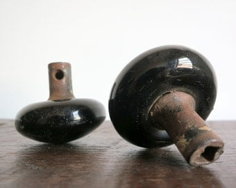 Pair of Black Porcelain Door Knobs