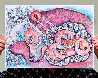 Kozo Bear, Sleeping bear and squirrels animal artwork print, size A3 (No. 41)