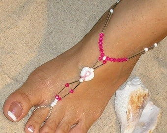 Breast Cancer Awareness Barefoot Sandals Pink Swarovski Crystals Happi Feet Handmade Pair Beach Wedding Shoes The Charlotte HF31