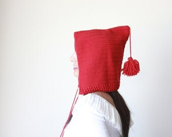 Red Knit Pixie Hat for women, Red pixie hat, Red pixie beanie, Red Gnome hat, Red gnome beanie, Red pixie beanie womens, Knit pixie beanie