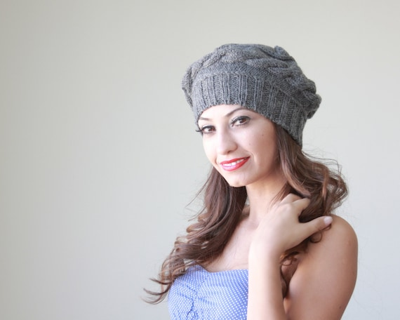 Custom knit hat, Chunky knit hat, Slouchy tam, Cable knit hat, Knit wool hat, Knit gray hat, Chunky winter hat, Slouchy winter hat