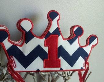 Navy Chevron 1st Birthday Crown