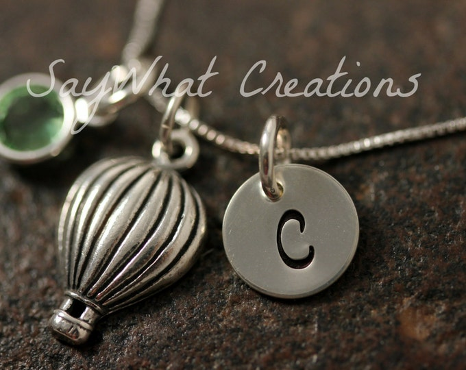 Sterling Silver Hot Air Balloon Charm Necklace with Mini Hand Stamped Initial and Birthstone