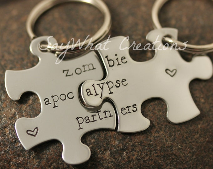 Zombie Apocalypse Partners Puzzle Piece key chain Set of Two