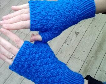 Fingerless gloves, bright blue, moss stitch diamond pattern, adult size small/medium, vegan