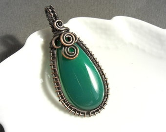 Green agate pendant, Copper stone necklace, Rustic jewelry gift for daughter mother grandma
