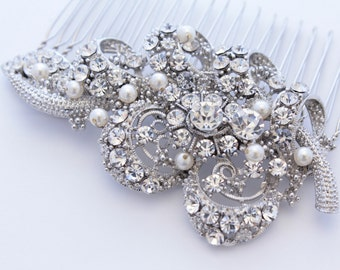 Vintage Inspired  Pearls bridal hair comb, Swarovski pearl hair comb, wedding hair comb, bridal hair accessories, wedding hair accessories