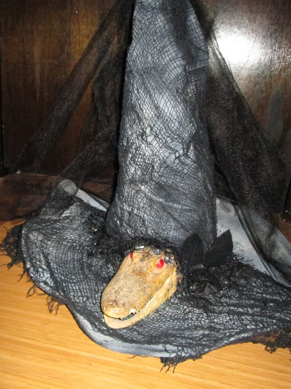 Witch Hat, real alligator head, with faux red eyes, handmade Halloween costume princess witch hat