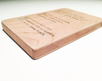 custom graphic.  wood carry all. flip. business and credit card holder.