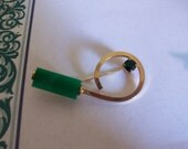 Vintage Green and Gold Tone Brooch (MM332) FINAL SALE