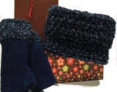 Cowl And Gloves SET , Cowl Neck Scarf AND Gloves Handcrafted Cotton, Wool and Acrylic in Navy