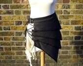 Post apocalyptic asymmetric over skirt clothing black white alternative fashion