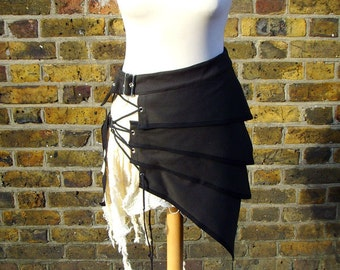 Post apocalyptic asymmetric over skirt clothing black white alternative fashion