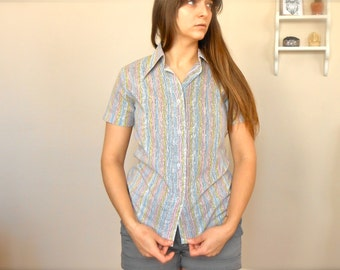 Vintage 1980s Women's Striped Blouse Pastel Button Up Cotton Short Sleeve Print Top 80s Pointed Collar