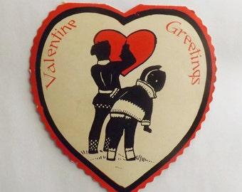 Vintage Valentine's Day Card folding die cut heart shaped little girl and boy silhouette snowbabies ephemera