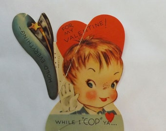 Vintage Valentine card die cut little boy policeman cop with folding hat