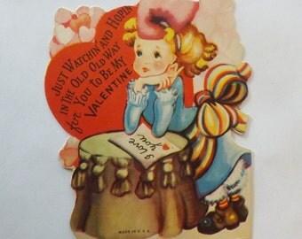 1930s Vintage Valentine's Day Card die cut little girl ephemera