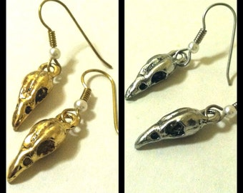 Bird Skull Bellatrix Lestrange Earrings, Harry Potter Inspired, Silver Pewter or Gold Plated
