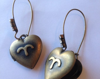 Aries Horoscope Heart Locket Earrings