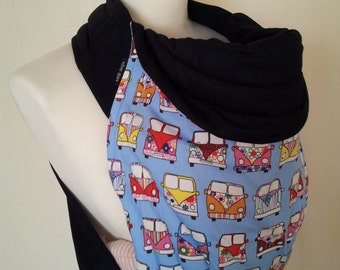 MEI TAI Baby Carrier / Sling / Reversible/ Camper Van In Blue with Black in leg cut model/ Cotton / Handmade / Made in UK