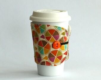 Insulated Coffee Cozy - Geometric Triangles Pie - Ready to Ship
