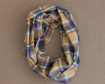 CLEARANCE - Cotton Infinity Scarf - Mustard Yellow Grey Pink Plaid - Brushed woven cotton flannel - ready to ship