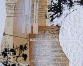 mixed media collage with found poetry.  black and white painting.  too young.