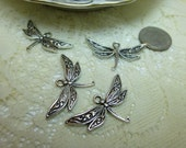 4-Detailed Dainty Tibetan Silver Dragonfly Pendants Charms 18 x 32mm