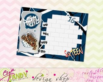BIRTHDAY INVITE - Graffiti Happy Birthday Invite - customDIY Invitation - boys themed birthday - graffiti birthday - 16th party