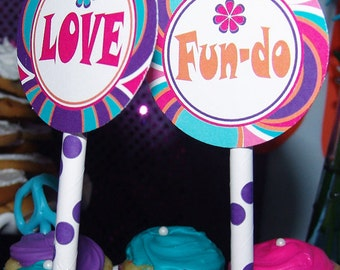 TOPPERS - Peace Toppers - Peace Love & Fun-do CUSTOMIZED Toppers - PEACE birthday party - Peace party circles