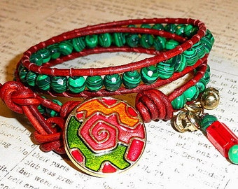 Faceted Green Malachite And Leather 2 Wrap Bracelet