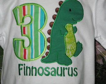 Custom Boy's Dinosaur Birthday T Shirt or Bodysuit with Free Personalization