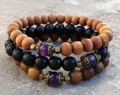 Healing, genuine Amethyst guru bead sandalwood, ebony, and wood beaded set of 3 mala bracelets