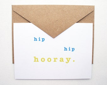 Hip Hip Hooray --  Card & Envelope -- PS Salutations -- PICK your QUANTITY