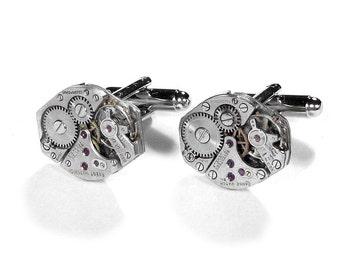 Steampunk Jewelry, Mens Cufflinks Vintage Watch Movement Cuff Links Anniversary Wedding, Fathers Day, Fiancee Cufflinks - Steampunk Boutique