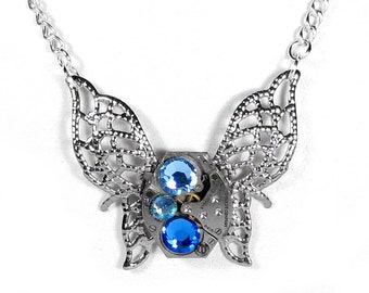 Steampunk Jewelry Necklace Vintage Watch Victorian Silver BUTTERFLY Blue Aqua Crystals Weddings Bridesmaids - Jewelry by Steampunk Boutique