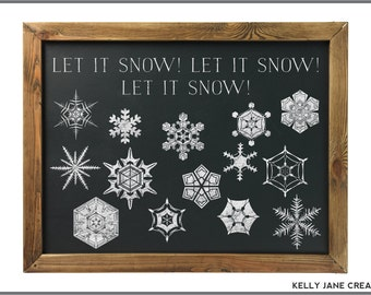 Chalkboard Snowflake Clipart  - Instant Download Includes PNG and EPS files