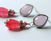 Pink Jade Earrings, Post Earrings, Dangle Earrings, Drop Earrings, Chandelier Earrings, Gemstone Earrings, Bridal Jewelry, Valentine Gift