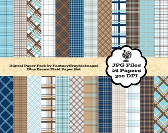 Plaid Digital Paper Tartan Check Blue Brown The Plaid Series 24 Papers Clip Art Photography Background Printable Scrapbook Instant Download