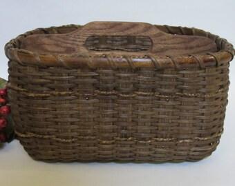Paper Plate-Silverware Basket / Organizer Basket /  Basket with Dividers-Large-Handwoven Basket