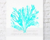 Sea Coral in Turquoise Watercolor Art Print - Sea Life Wall Art in Turquoise Blue