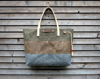 Waxed canvas shoulderbag carry all with  leather handles, 3 color bag COLLECTION UNISEX