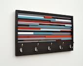 Wood Wall Art - Reclaimed Wood Art - Coat Rack Abstract Painting on Wood