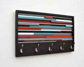 Wood Wall Art - Reclaimed Wood Art - Coat Rack Abstract Painting on Wood