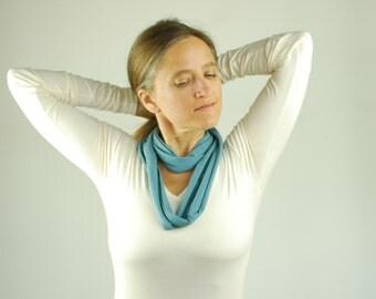 Circle Scarf - Skinny Infinity Scarf - Blue - Eco Friendly Jersey - Turban Headwrap -  Organic Clothing