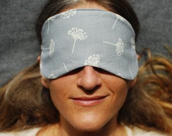 Eye Mask - Sleep Mask - Gray - Organic Cotton - Eco Friendly - Dandelion Seed Print - Handmade