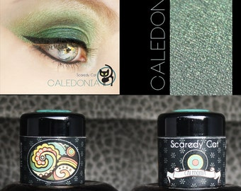 Eye Shadow Green Shimmer - Vegan - Loose Mineral Pigment Eyeshadow - Scaredy Cat - CALEDONIA - 5 mL Sifter