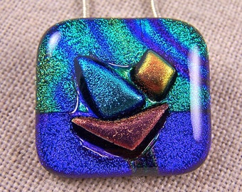 """SAILBOAT Sailing at Sunset - Dichroic Pendant AND Pin Combo- Copper Gold Blue Teal Tie Dye Fused Glass - 1"""" Inch 25mm"""