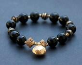 Black and gold murano glass beaded bracelet. Venetian beaded jewellery.
